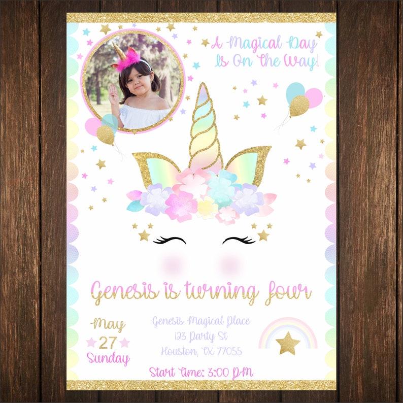 6f7766b11fc Unicorn Birthday invitation wedding baby