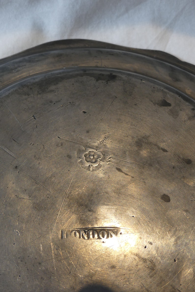 18th Century Antique English pewter bowl plate
