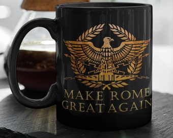 SPQR Ancient Roman Eagle Mug Black Ceramic Coffee Tea Cup Funny Cup Gift For Men