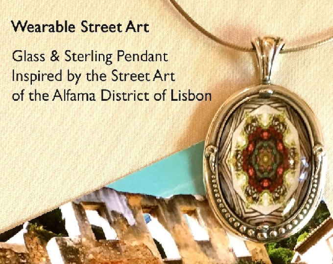 Glass Pendant set in Beaded Sterling Silver, Design created from Original Photo of Street Art in Alfama District of Lisbon