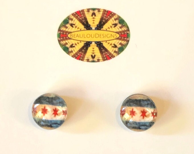 "Sweet Home Chicago Button Earrings, .40"" or .60"" Glass Cabochons set on steel base, Buy one or both, Great Gift or to Keep for Yourself!"