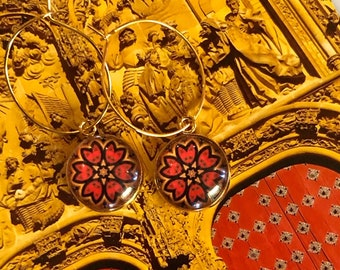 Make an Entrance w/ these Red Doors of Salamanca Earrings, Original Design on Glass set on Gold-Plated Steel, Choose Hoop or French Hook