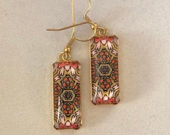 Stunning, Rectangular Dangle Earrings with Vibrant Original Design Inspired by Chicago Street Art, Glass on Gold-plated Stainless Steel Base