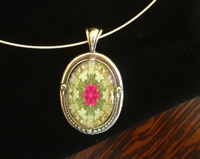 Bright Peony, Floral Glass Pendant & Earrings, Buy as Set or Separates, Sweet Gift to Give or Keep for Yourself