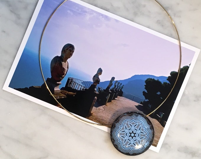 "Glass 1.5"" Pendant, Work of Art designed from original photo of Terrazza dell'Infinito, Ravello, Italy, Statement Piece"