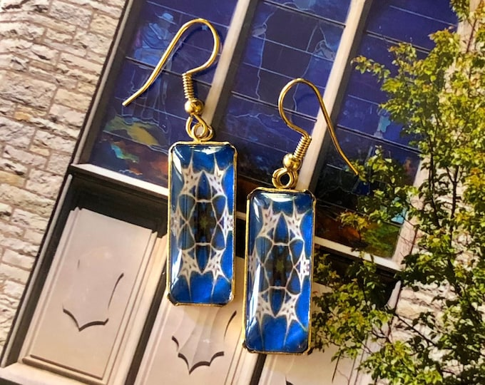 Stunning, Rectangular Dangle Earrings with Vibrant Original Design Inspired by Tiffany Windows, Glass on Gold-plated Stainless Steel Base