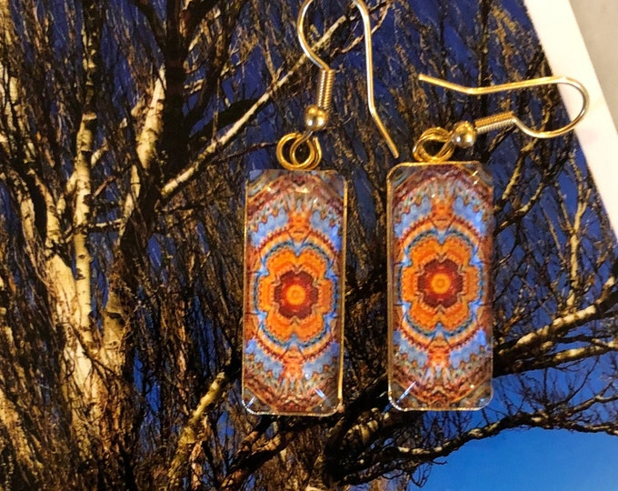 """Rectangular Dangle Earrings w/ Intricate, """"Tapestry"""" Design, Glass on Gold-plated Stainless Steel Base, Drop 1.5"""" overall, 1"""" Charm"""