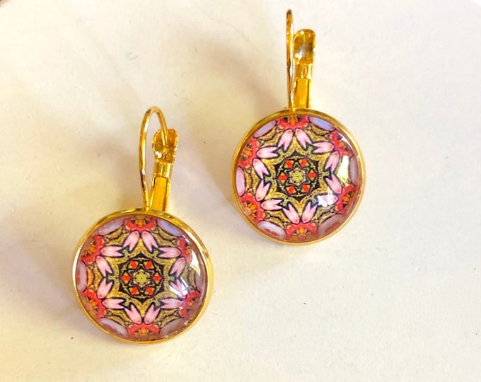 Divinity Earrings, Original Design on Gold-Plated Lever Back Base, Intricate Details in Rose and Gold