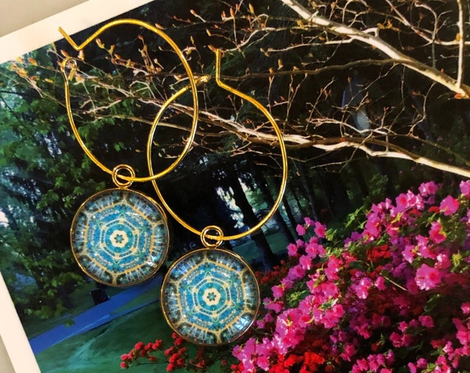 Bright, Geometric, Original Design on Glass set on Gold-Plated Steel, Choose Hoop or French Hook