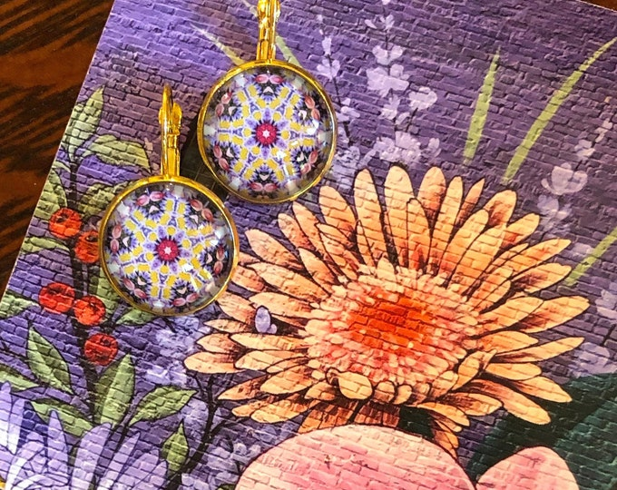 Lacey Earrings, Original Design on Gold-Plated Lever Back Base, Intricate Details in Pinks, Purples and Golds