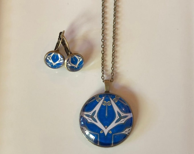 Pendant & Earring Set, Classic Design Set in Glass on Bronze Bases, Buy as Set or Separates, Statement Pieces
