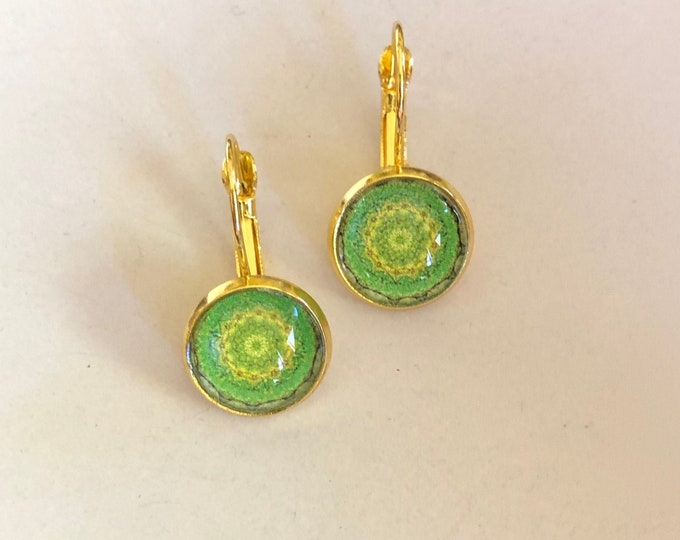 Dogwood Earrings, Original Design on Gold-Plated Lever Back Base, Intricate Details in Green and Gold, Beautiful to Gift or Keep!