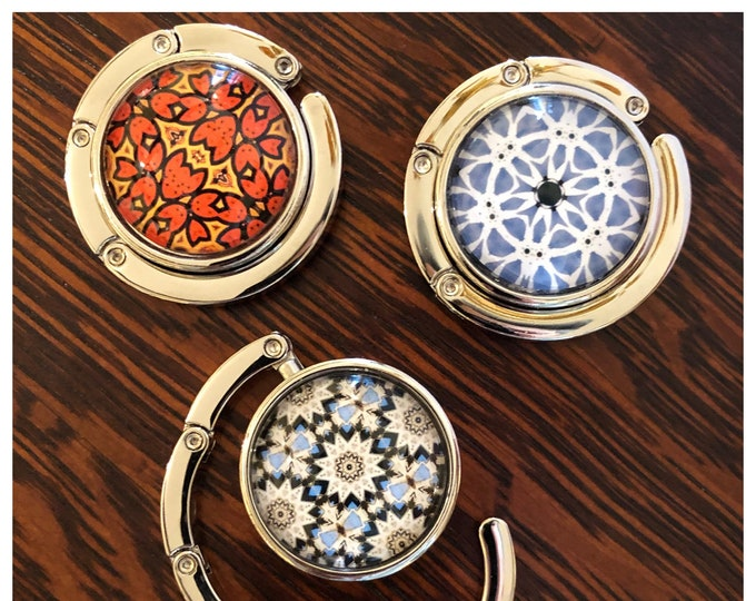 Purse / Coat Hooks Vivid, Original Designs Set on Stainless Steel Base, Functional and Fabulous