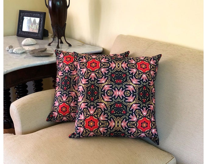 Classic & Colorful Throw Pillow, Beautiful Addition to Your Home or Home Office, Rich, Bold, Intricate Details in Red, Gold and Black