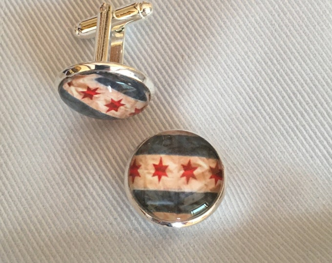 Chicago Flag Cuff Links, Original Designs set in Glass on Silver-Plated Cuff Links, Packaged in Black Gift Box, Perfect to Give or Keep!