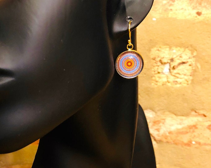 """Intricate, """"Illusion"""" Dangle Earrings, Original Design on Glass Cabochon set on Gold-Plated Base & French Hook, Beautiful to Gift or Keep!"""