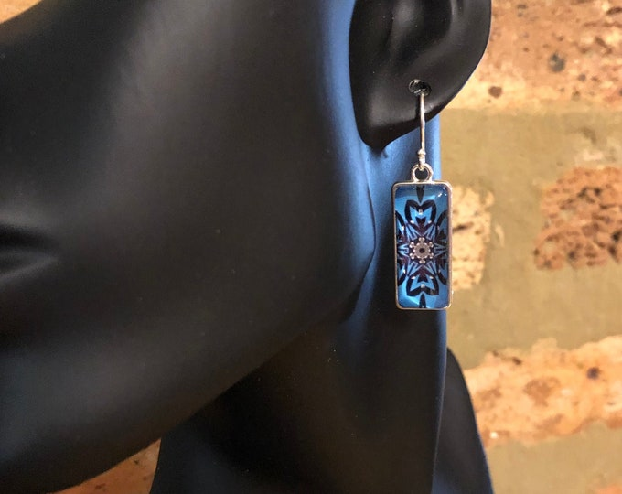 Stunning, Rectangular Dangle Earrings with Vibrant Original Design Inspired by Chicago Street Art, Glass on Silver-plated Steel Base