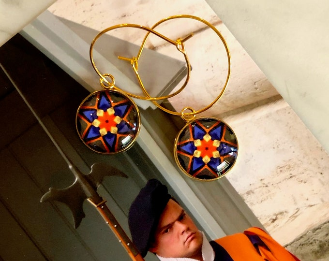 Vivid, Bold, Swiss Guard Earrings, Original Design on Glass set on Gold-Plated Steel, Choose Hoop or French Hook