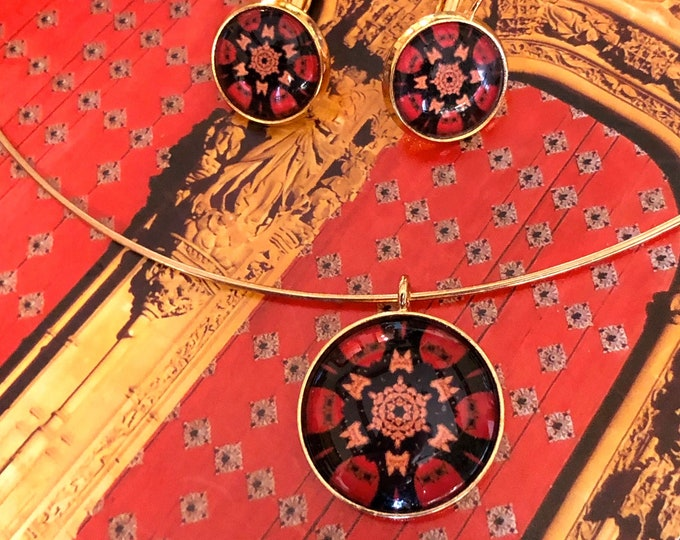 Pendant & Earring Set or Separates, Bold Design Set in Glass, Statement Pieces Designed from Photo of Catedral Vieja Salamanca, Spain