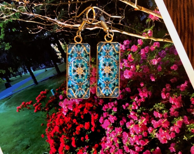"""Rectangular Dangling Earrings with Vibrant Original Design, Drop 1.5"""" overall, 1"""" Charm, Glass set on Gold-Plated Stainless Steel"""
