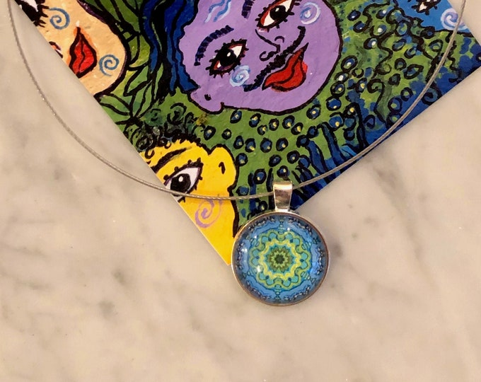 "Vibrant, 1"" Glass Pendant on 16"" Stainless Steel Neck Ring and .63"" Glass & Stainless Hoops, Buy as Set or Separates, Great to Gift or Keep!"