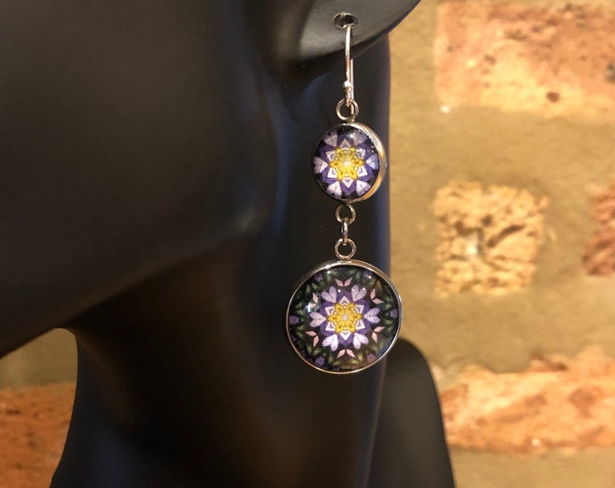 Ultra Violet Double-Drop Dangles, Bold, Vibrant Design Inspired by Evanston Street Art, Beautiful to Gift or Keep