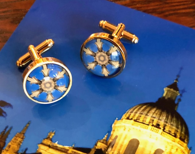 """Striking Cuff Links, Original Designs set in Glass in Brass Cuff Links, 5/8"""" Diameter, Packaged in Black Gift Box, Perfect to Give or Keep!"""