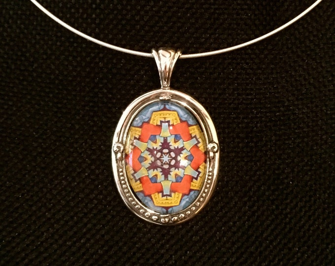Metropolis Glass Pendant, Sterling Silver Setting, Statement Piece, Designed Inspired by Chicago Street Art