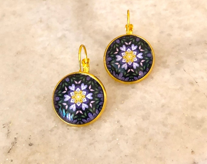 Ultra Violet Earrings, Original Design on Gold-Plated Lever Back Base, Intricate Details in Purples and Golds