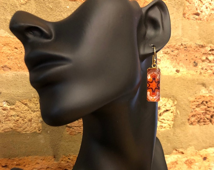"""Barcelona, Rectangular Dangle Earrings w/ Bold, Vivid Design, Glass on Gold-plated Stainless Steel Base, Drop 1.5"""" overall, 1"""" Charm"""