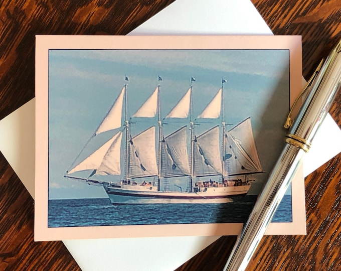 Tall Ship Windy Note Cards & Envelopes, Handcrafted Set of 8, Original Design from Photograph taken on Lake Michigan, Chicago