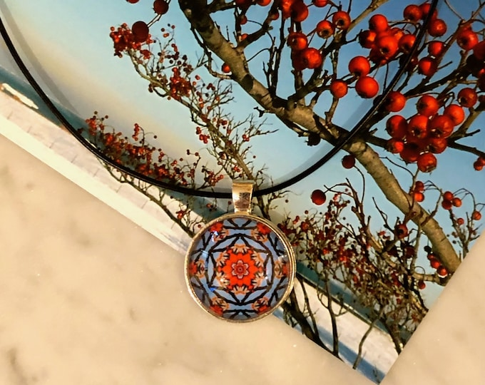 """1"""" Glass Pendant, Perfect for the Holidays! 16"""" Leather Necklace or Stainless Steel Neck Ring, Beautiful Gift to Give or Keep for Yourself!"""