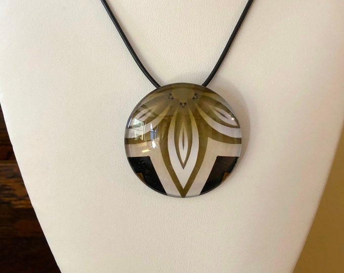 """Sintra Pendant, Bold, Classic Design Set in Glass with 16"""" Leather Necklace"""