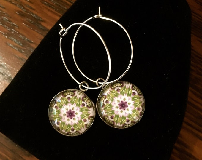 "Garden Party Hoop Earrings, Original Design set in Glass on Stainless Steel base with 1"" Sterling Silver Hoop"