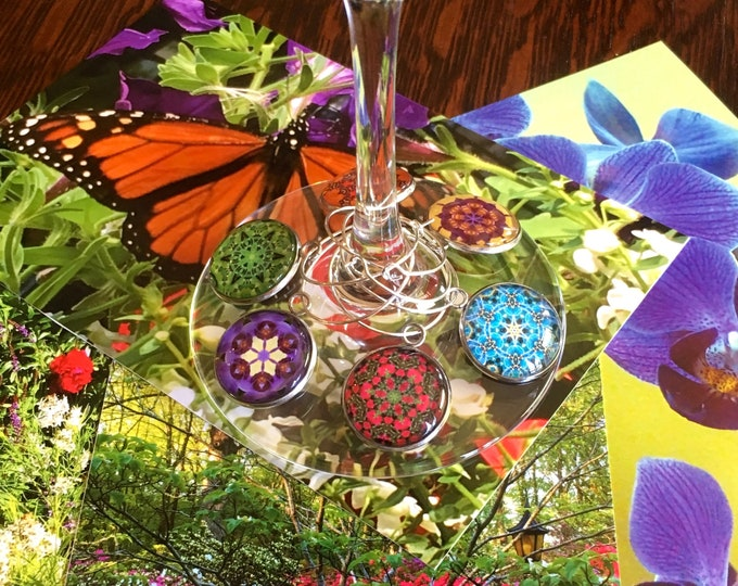Garden Variery Wine Charms, Original Designs Set in Glass on Stainless Steel Charm, Unique Housewarming, Host Gift