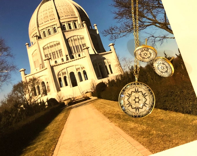 Star Pendant & Earring Set, Classic Design Set in Glass, Buy Set or Separates,  Designed from Original photo of Bahá'í  House of Worship