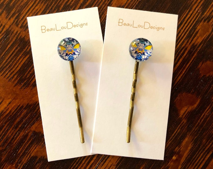 Glass & Brass Hair Pins, Original, Vibrant Design, Price is Per Pair