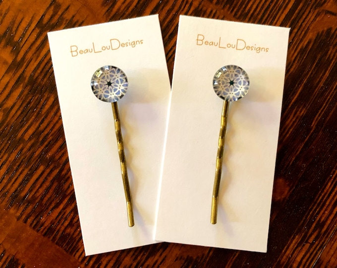 Glass & Brass Hair Pins, Original, Classic Design, Price is Per Pair