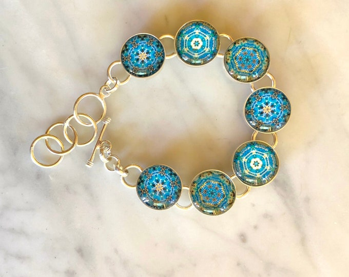 Morning in the Garden Bracelet, Glass Beads set in Silver-Plated Bracelet, Vibrant, Intricate Designs Inspired by Ana's Garden