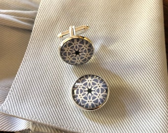 Striking Cuff Links, Vibrant Original Designs set in Glass on Silver-Plated Cuff Links, Packaged in Black Gift Box, Perfect to Give or Keep!
