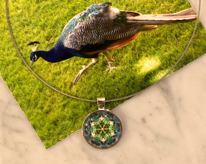 "1"" Glass, Pendant on 16"" Stainless Steel Neck Ring, Designed from Photo of Castelo Sao Jorge Peacock, Beautiful Gift to Give or Keep!"