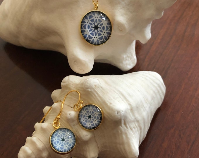 Pendant & Earring Set, Classic Design Set in Glass, Buy as Set or Separates, Statement Pieces