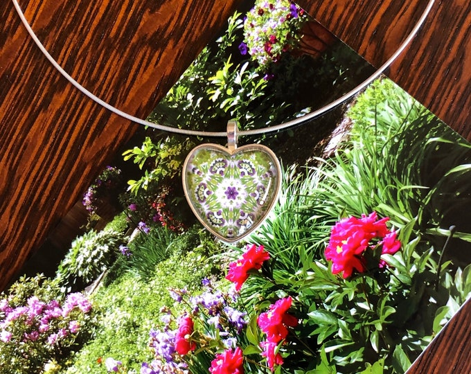 """1"""" Glass & Silver Heart, Garden Party Pendant on 16"""" Sterling Neck Ring,  Beautiful Gift to Give or Keep for Yourself!"""