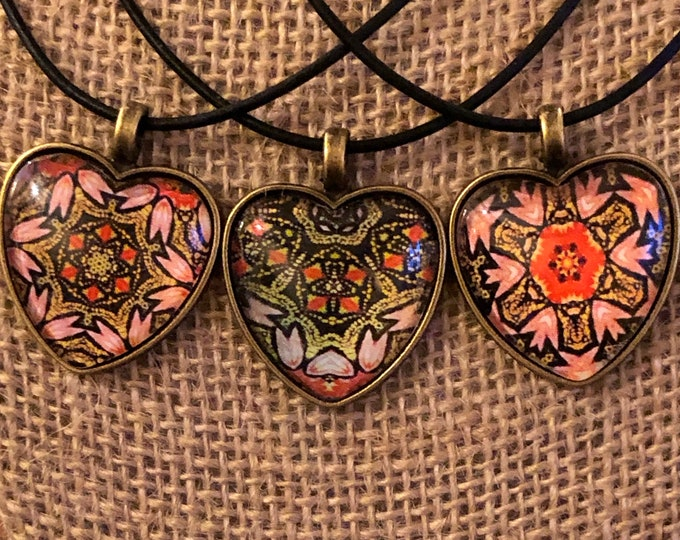 """Divinity, 1"""" Glass & Bronze Heart-shaped Pendants, 3 designs to choose from, Inspired by Artists of the Wall 2019, Beautiful Valentine's"""