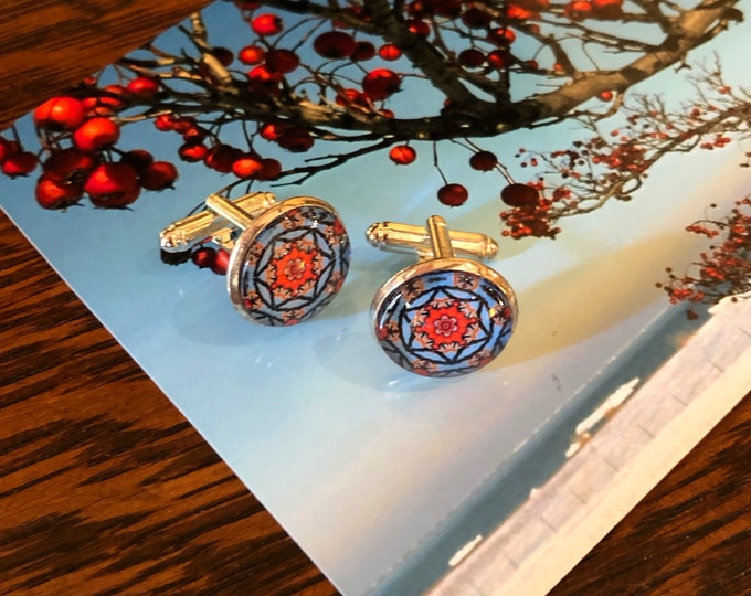 Holly Berry Cuff Links, Original Designs set in Glass on Silver-Plated Cuff Links, Packaged in Black Gift Box, Perfect to Give or Keep!