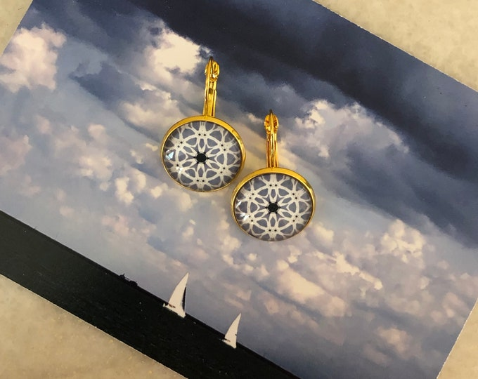 Summer Storm Earrings, Original Design on Gold-Plated Lever Back, Intricate Details in Shades of Blue & White, Beautiful to Gift or Keep!