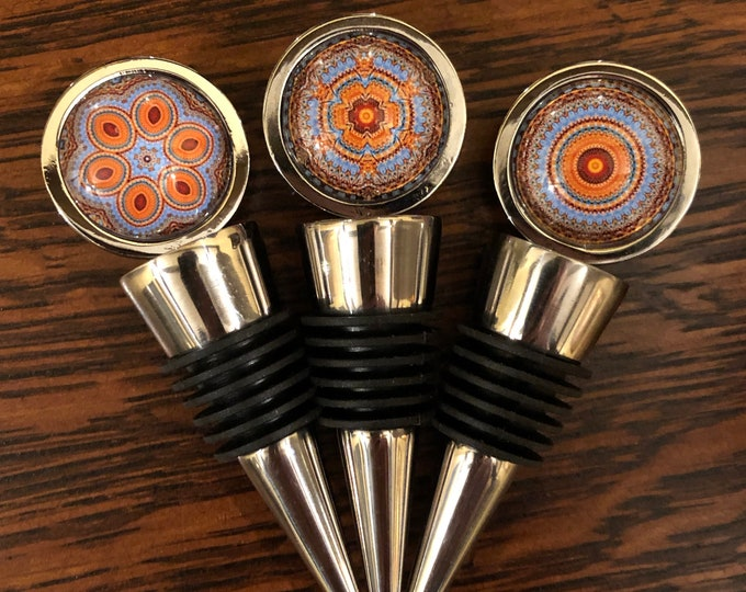 Albion Beach Wine Stoppers, Original Designs Set on Stainless Steel Base, Unique Housewarming, Host Gift