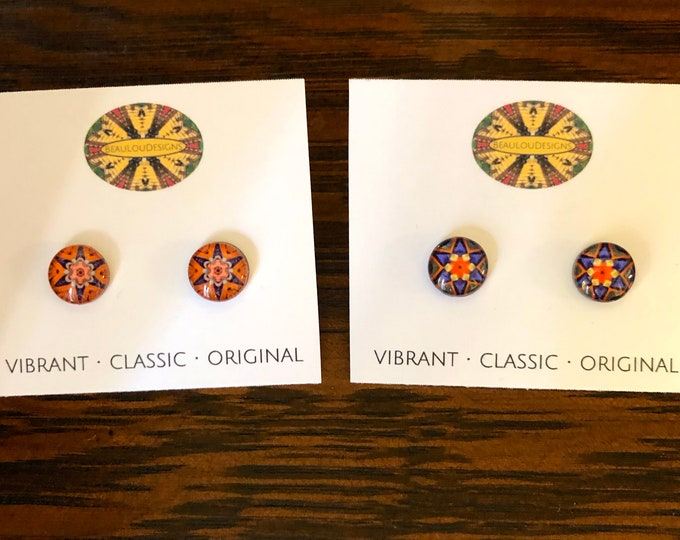 """Swiss Guard Stud Earrings, .40"""" Glass Cabochons with Bold, Vivid, Original Designs, Beautiful Mother's Day Gift"""