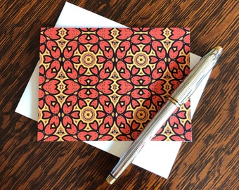 Note Cards & Envelopes, Handcrafted Set of 8, Original Design from Photograph of the Red Doors of Catedral Vieja de Salamanca, Spain