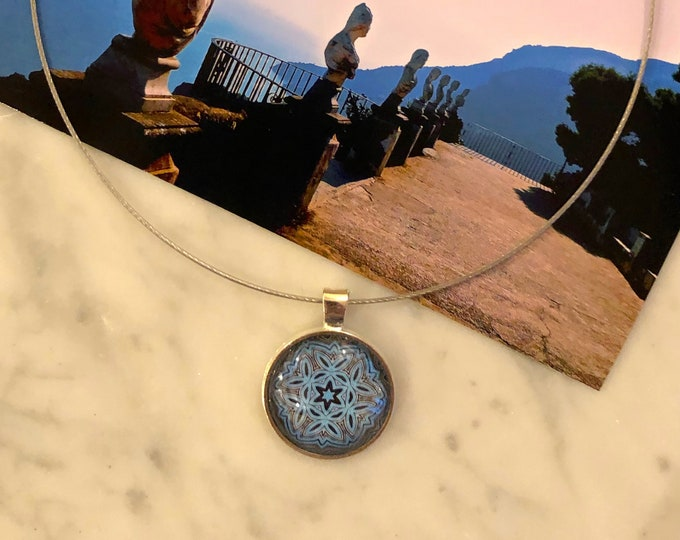 "1"" Glass, Pendant on 16"" Stainless Steel Neck Ring, Designed from Photo of Terrazzo dell'Infinito, Beautiful Gift to Give or Keep!"